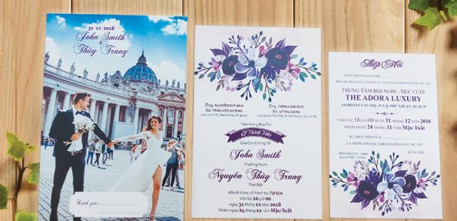 BST những mẫu thiệp cưới in hoa vintage đẹp giá rẻ