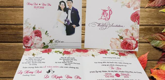 BST Những mẫu thiêp cưới hoa hồng đẹp giá rẻ