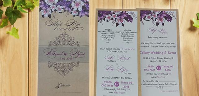 Những mẫu thiệp cưới hoa hồng tím đẹp giá rẻ