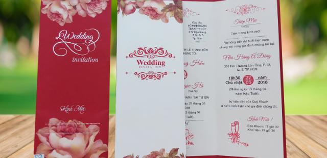 Thiệp cưới Vintage, in hoa, cắt laser cao cấp