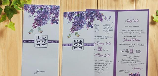 Những mẫu thiệp cưới hoa tím đang hot nhất