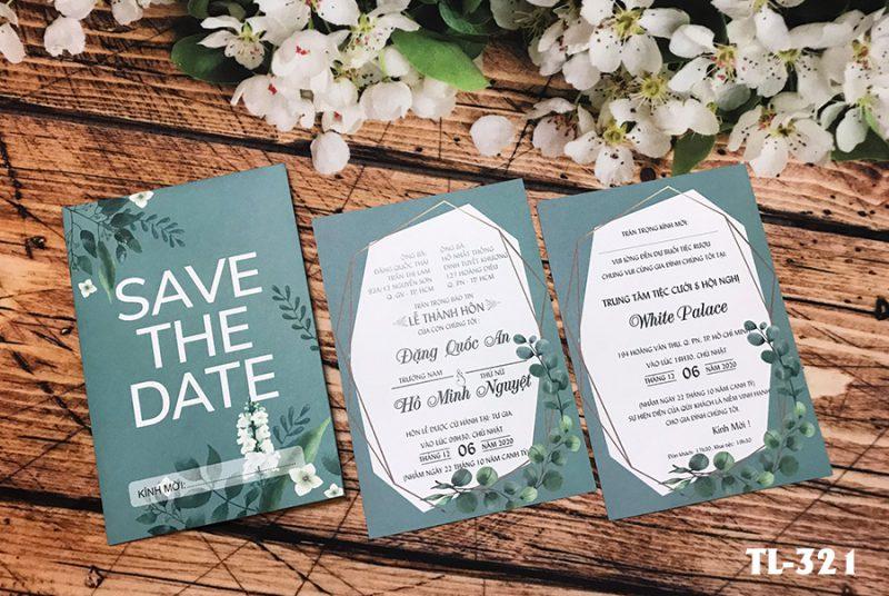 Thiệp cưới xanh lá cây