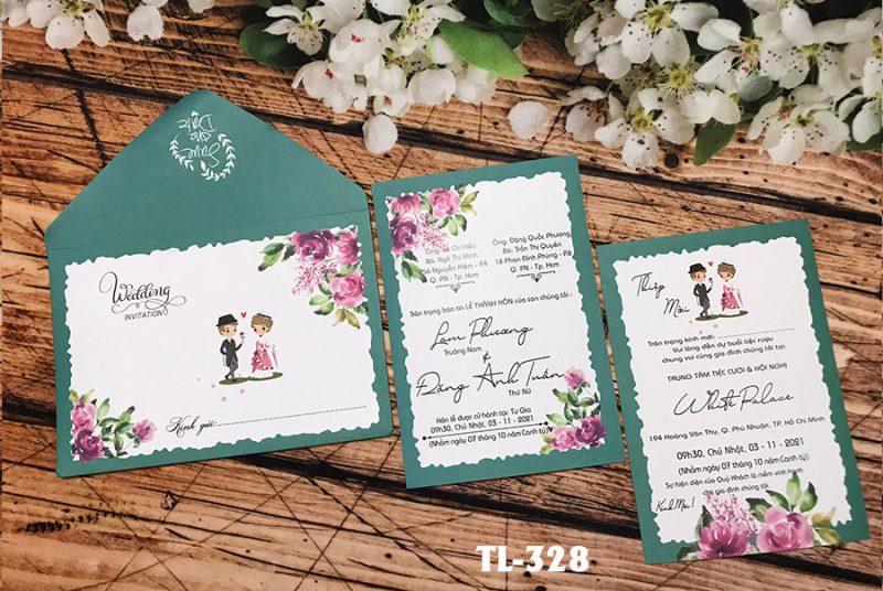 thiệp cưới xanh lá