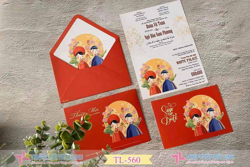 Các mẫu thiệp cưới đẹp đỏ truyền thống