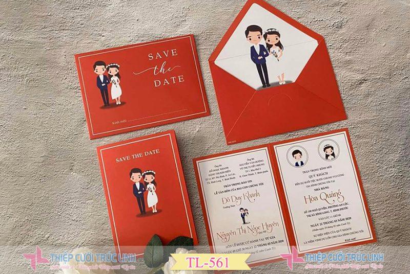 Mẫu thiệp cưới đẹp đỏ truyền thống